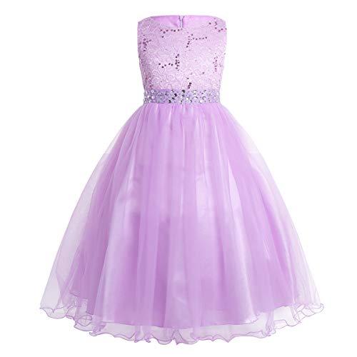 CHICTRY Kinder Mädchen Kleid festlich Lange Brautjungfern Kleider Hochzeit Blumenmädchenkleid Prinzessin Party Kleid Tüll Festzug Lavendel 128 -