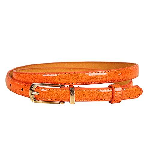 Damen Leder gürtel (bunt) (Orange)