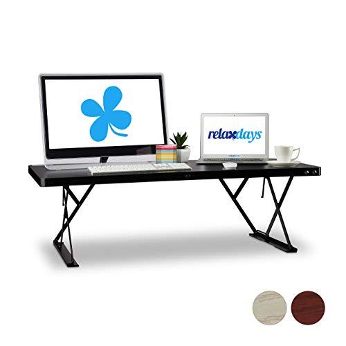 Relaxdays Sitz-Steh-Schreibtisch XXL, elektrisch höhenverstellbar, ergonomischer...