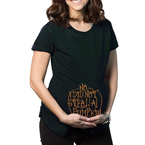 b51e7ae28 Camiseta de Maternidad Halloween Elasticidad Embarazada Camiseta Ropa  Premamá Calabaza Estampado-Estilo 3 S