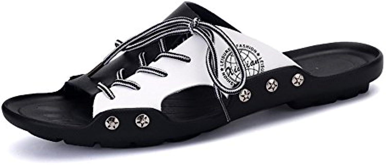Sandalias de Playa PU de Cuero para Hombre Zapatillas de Cordones Ocasionales Suela Antideslizante con Cordones