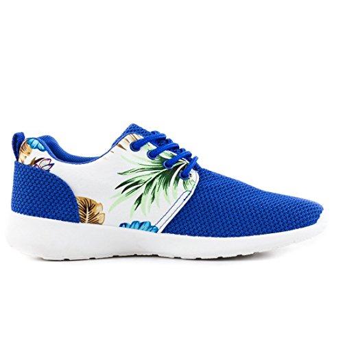 Unisex Damen Laufschuhe Schnür Sneaker Sport Fitness Turnschuhe mit Blumenmuster Blau