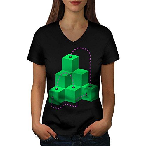 Würfel Modisch Drucken Mode geometrisch Damen M V-Ausschnitt T-shirt | Wellcoda