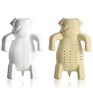 iNeibo Kitchen infusore/ filtro/ colino in silicone per te e tisane a forma di carlino, design intelligente si adatta a tutte le tazze, silicone 100% alimentare privo di Bpa, Set da 2 infusori (Bianco, Kaki)