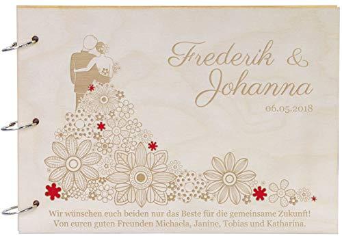 LAUBLUST Foto-Album aus Holz Blumen-Kleid Gravur- 31x22cm, Natur - Erinnerungsalbum zur Hochzeit - 30 A4 Karton-Seiten