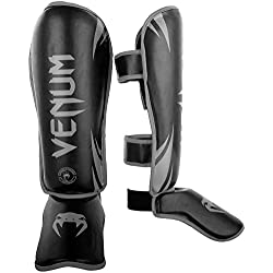 Venum Challenger 2.0 Espinilleras de Boxeo, Unisex Adulto, Negro / Gris, L/XL