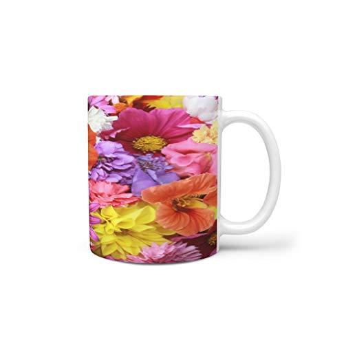 kikomia Farbenfrohe BlumenBecher Tasse Keramik Kaffee Home Office personalisierte Geschenke Urlaub Tee Wasser heiß Magie lustige Kunst Frauen Mama Oma Farbe Familie White 330ml