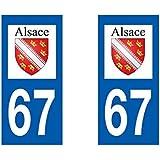 Autocollant plaque immatriculation pour Auto Alsace département - Alsace / 67 Bas Rhin
