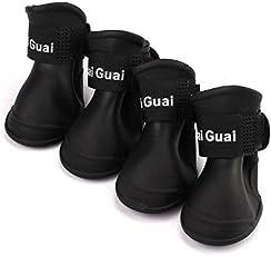Veena Black S United States 4Pcs Lot Summer Pet Dog Shoes Waterproof Rain Pet Shoes for Dog Puppy Rubber Boots Portable Durable Puppy Shoes Pet