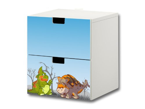 Dinosaurier Möbelsticker/Aufkleber - S2K15 - passend für die Kinderzimmer Kommode mit 2 Fächern/Schubladen STUVA von IKEA - Bestehend aus 2 passgenauen Möbelfolien (Möbel Nicht inklusive)