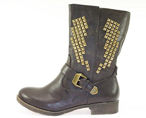 Boots/Stiefeletten Damenschuhe Farbe Cafe mit Nieten und Schnalle Cafe