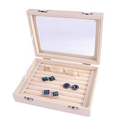 omufipw Samt Schmuck Ringe Display Tray Schmuck Aufbewahrungsbox für Ringe Ohrringe Halskette Armbänder Organizer Fall
