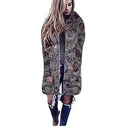mujeres chaquetas motocicleta de cremallera Sannysis cardigans de bolsillo mujer moto deportivas invierno baratos abrigos invierno largos chaqueta cortavientos camuflaje outwear (XL, Camuflaje)