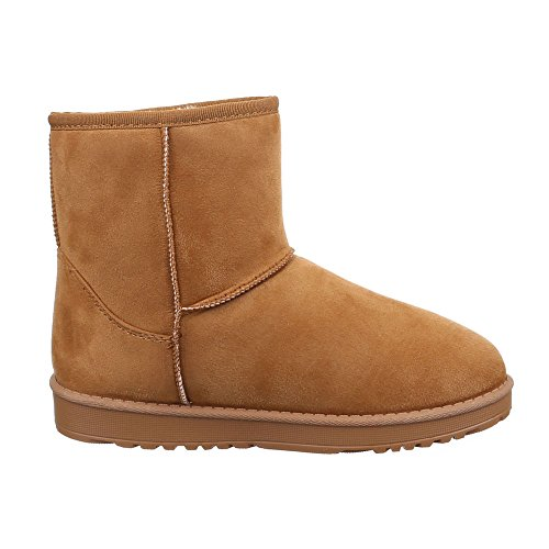 Damen Schuhe, R-100, STIEFELETTEN WARM GEFÜTTERTE BOOTS Camel
