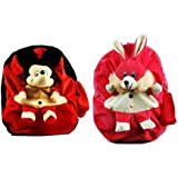 Blue Tree Soft Material School Bag For Kids Plush Backpack Cartoon Toy   Children's Gifts Boy/Girl/Baby/Decor School Bag For Kids(Age 2 to 6 Year) (Mickey&Rabbit)