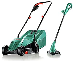 Bosch Rotak 32R Electric Rotary Lawnmower and Trimmer Twin Pack
