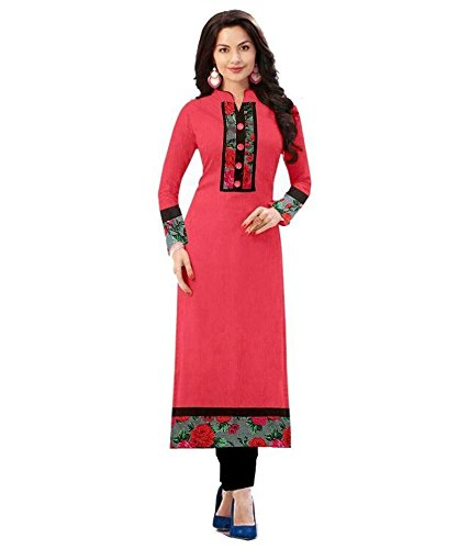 Designer And New Staylish Pink (Full Slive) semi stitched Kurti.