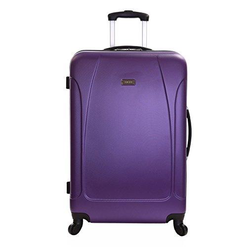 Karabar trolley bagaglio da stiva valigia rigida leggera grande XL 76 cm 4,4 kg 100 litri con 4 ruote, Evora Viola