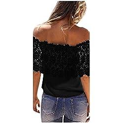 ❤️ Blusa casual de mujer, mujeres atractivas del hombro Tops casuales Blusa de encaje camisa de gasa de ganchillo ABsolute (XL, Negro)
