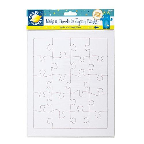 Craft Planet 40 pezzi 2 Blank A4 Jigsaw fare un puzzle, Bianco