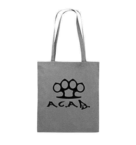 Comedy Bags - A.C.A.B. - SCHLAGRING1 - Jutebeutel - lange Henkel - 38x42cm - Farbe: Schwarz / Pink Dunkelgrau / Schwarz