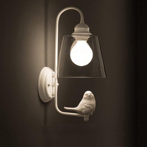 Rishx Weiß Eisen E27 Wandleuchte Lichter Kreative Harz Vogel Wandleuchte Kegel Klarglas Lampenschirm Wandleuchte Restaurant Schlafzimmer Nacht Laterne - Kegel-wandleuchte Licht