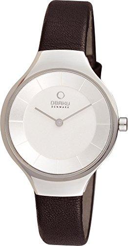 Obaku V166LXCIRB - Reloj para mujeres, correa de cuero color negro