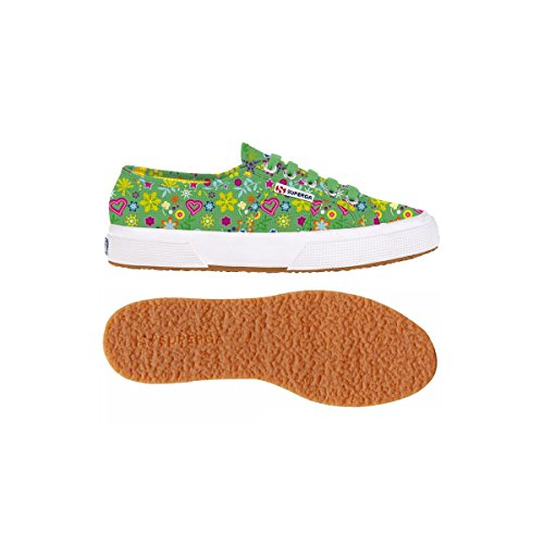 Superga 2750 Fantasy, Damen Schnürsneaker Little Flowers Green