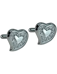 Ammvi Creations CZ Embellished Rhodium Plated Silver Hearts Cufflinks For Men