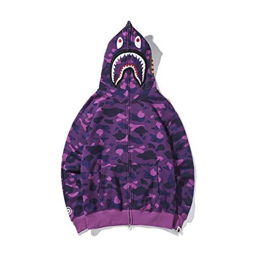 Bape Jacket Purple Hot Style Bape Tiger Head Shark Stitching Color Matching Plus Velvet Hoodies Men Women Jacket Couples