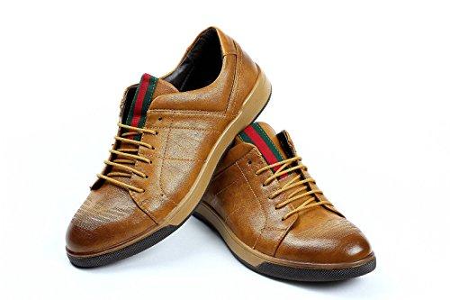 Uomo Scarpe casual con lacci eleganti formali LAVORO D'ufficio italiana moda abito Marrone