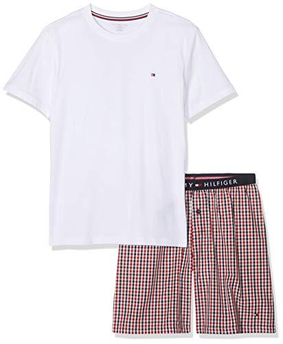 Tommy Hilfiger Jungen SS Short Set Woven Zweiteiliger Schlafanzug, Mehrfarbig (White/Tango Red 078), 152 (Herstellergröße: 10-12) (Tommy Jungen-shorts Hilfiger)