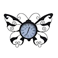 Garden Market Place Butterfly Design Decorative Garden Clock with Free Battery for Outdoor or Indoor Use