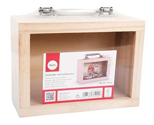 Rayher 62842505 Holz-Koffer mit Sichtfenster,18 x 8 x 13 cm, mit silbernem Griff, Bastelkoffer; Holzkoffer, Holzbox, FSC zertifiziert