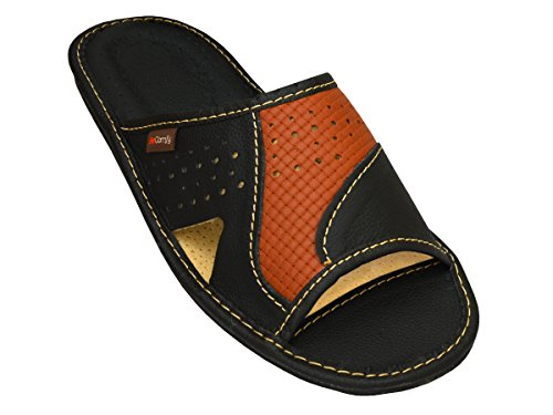 becomfy genuine mens leather slippers brown black slip on house