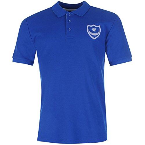 Portsmouth FC Core Herren Polo Shirt Fussball Kurzarm Tee Top Polohemd Poloshirt Blau Large (Baseball-print-tank-top)