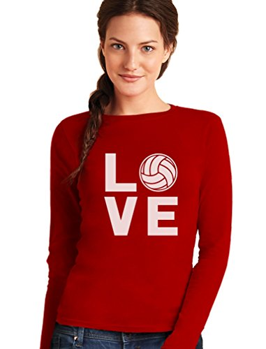 Love Volleyball - Sportliches Geschenk Shirt für Freunde Frauen Langarm-T-Shirt Medium Rot (T-shirt Volleyball Love)