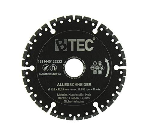 BTEC Profi Diamant-Trennscheibe Universal ALLESSCHNEIDER Trennscheibe 125mm x 22,23mm für Stahl, Eisen, Holz, Beton, GFK, Gummi, Glas, Bitumen etc
