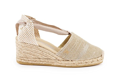 "VISCATA Escala 2.5"" Heel, Soft Ankle-Tie, Closed Toe, Classic Espadrilles Heel Made in Spain Silber"