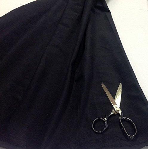 Pre-cut-Confezione di 1 m, colore: nero velluto di cotone da sartoria, in velluto di cotone, tessuto: 142 cm di larghezza, 240gsm...Sold al metro