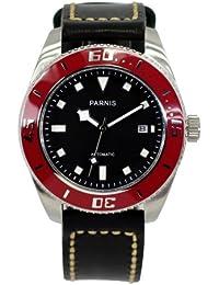 LIV MORRIS PARNIS MIYOTA 3204 0732066353867 - Reloj para hombres, correa de cuero color negro