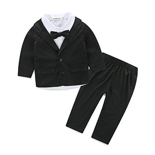 3pcs Kleinkind Baby Kinder Bekleidung Gentleman Outfits Langarm Hemd und Mantel-Jacke mit Hose Festliche Kleidung Jungen Bodysuit Tuxedo Spielanzug Insgesamt Outfit mit Coat Mantel Taufe Smoking (In Den Outfits Jahren 60er)