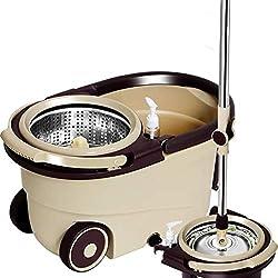 DWW Luxuriöser Schwenk-Mop aus Edelstahl mit leiser Verlängerung Griff, 2 x Räder, Mikrofaser-Ersatzkopf, Abfluss, Reinigungsmittel-Spender, für Zuhause, Grau A-Metal Basket+5