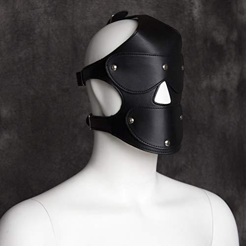 oys Leder Kopfbedeckung Augenmaske Gesichtsmaske Bühnenkostüme Alternativspielzeug Paare Flirten Tools Schwarz Rot Optional Jeans (Color : Black) ()