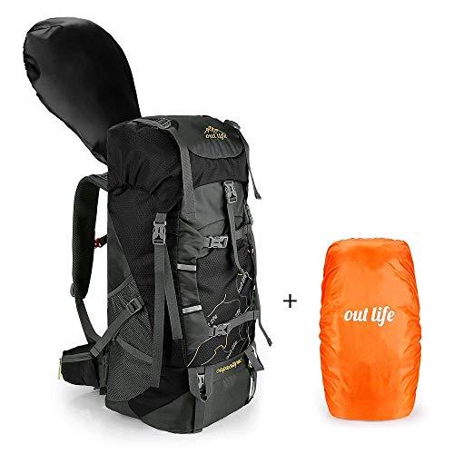 outlife Sac à Dos Randonnée 60L Grande Capacité avec Housse de Pluie Sac d'alpinisme Léger Militaire Multifonctionnel pour Sport Voyage Camping Alpinisme Escalade Cyclisme (Noir)