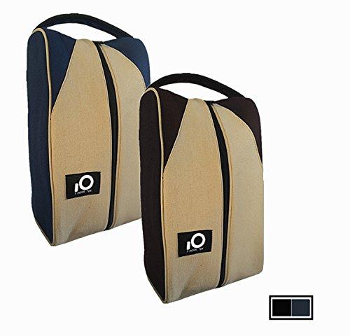 Tasche mit Reißverschluss für Golfschuhe von Finger Ten - Leinen, Reißverschlusstragetasche für Herren und Frauen. Reise-Organizer, Sport/ Basketball7 Fußball/ Fitness. Geschenk-Set, Black/Khaki