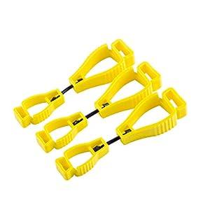 Guante Clip 3pcs Naranja Guante Grabber Clip Holder Guard Trabajo Seguridad, NanHong Glove Clip Holder Reducir Mano Lesióny Clip Clip Guantes Pom de Plástico Attach Gloves, Casco … (Amarillo)