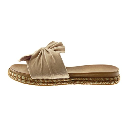 b813d3d1eb2d ... Angkorly Chaussures Mode Sandales Mules Slip-on Femme Noeud Tressé  Corde Talon Talon Plat 3 ...