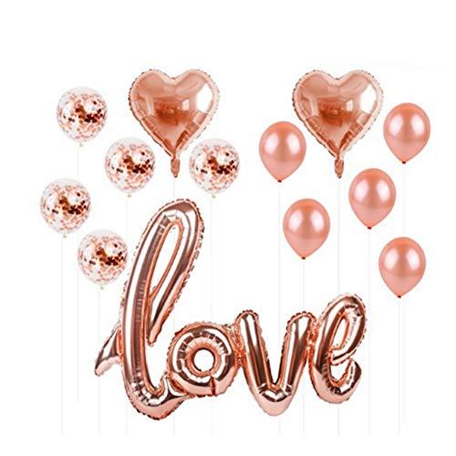 TOPFAY 1 Satz Konfetti gefüllte Herz-Hochzeit Ball of Air Fair Tiaodan Partei-Dekoration Kit rosa Kugel Schöne Rose Gold Leaf -