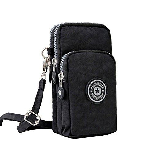 488a7e78ca3d Nansiche Multinational 3 Layers Storage Zipper Nylon Small Crossbody Wrist Shoulder  Bag Cell Phone Pouch Handbag